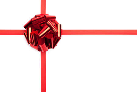 happy feast: Red gift bow with ribbon, isolated on white. Symbol of celebration and happy feast