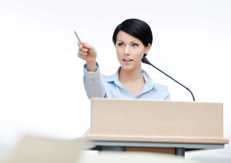 adult intercourse: Female lecturer at the podium. Business conference
