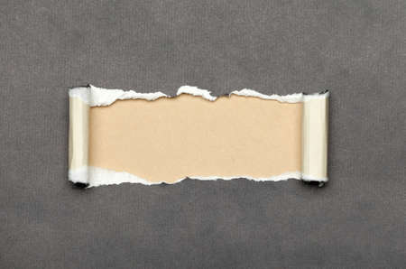 background design: Torn grey paper with beige copyspace for your message Stock Photo