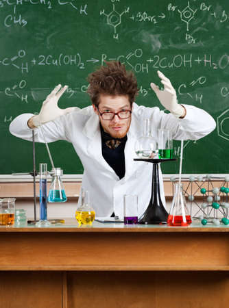 conducts: Mad professor conducts the experiments in his laboratory