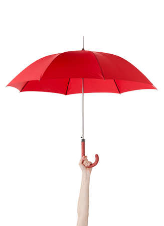 red umbrella: Close up of opened umbrella in hand, isolated on white