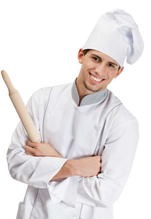 Chef cook in uniform hands wooden rolling pin, isolated on white Stock Photo - 15868215