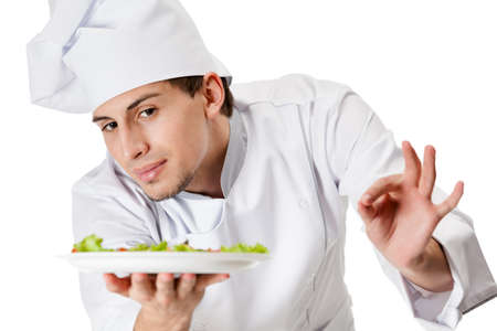 Portrait of chef cook handing salad dish, isolated on white Stock Photo - 15868226
