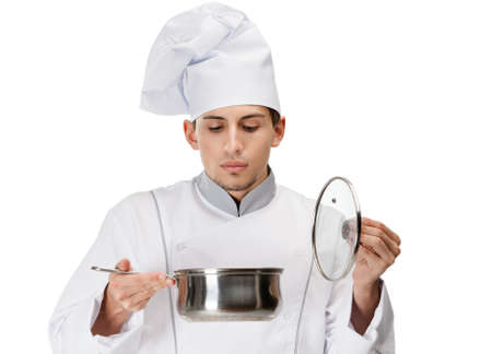 doubtfulness: Cook in uniform looking into stew pan, isolated on white