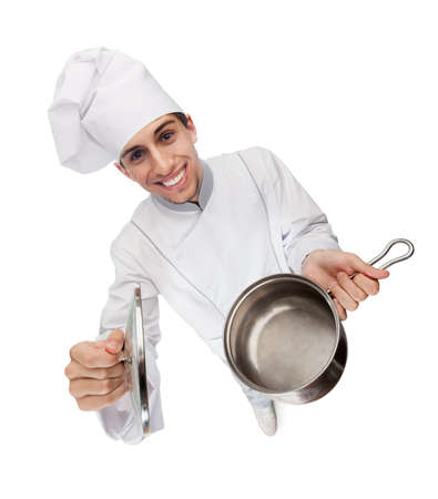 Chef cook smiles and hands an opened stew pan, isolated on white Stock Photo - 15867988