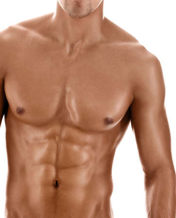 naked male body: Sexy body of  nude muscular athletic guy, isolated on white