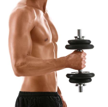 homme nu: Sexy body de l'homme athl�tique musculaire avec poids, isol� sur blanc Banque d'images