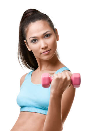 figure out: Athletic young woman exercises with pink weights, isolated on white