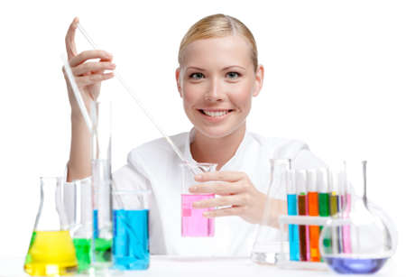 erlenmeyer: Female doctor surrounded by medical vials and flasks makes some researches, isolated on white