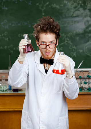 scientist in lab: Crazy scientist is in his laboratory
