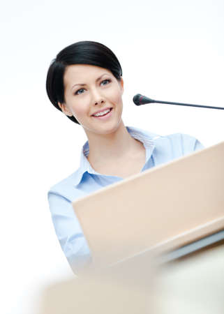 lecturer: Female lecturer at the board. Business training Stock Photo