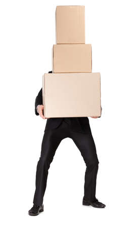 porter: Manager handing pile of pasteboard boxes, isolated on white Stock Photo