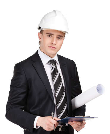 Making notes man in white helmet handing blueprint, isolated on white Stock Photo - 16041211