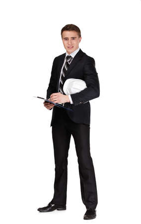executive helmet: Full length portrait of businessman with white hard hat, isolated on white