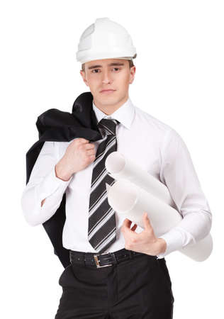Engineer in white hard hat with blueprint in hand, isolated on white Stock Photo - 16040619