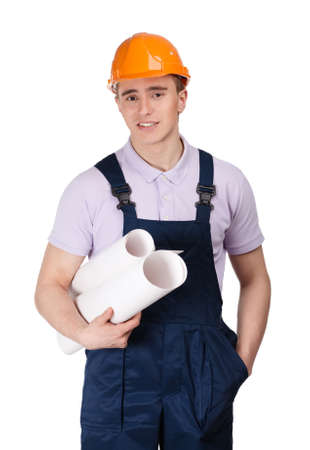 Young builder in orange hard hat with blueprints, isolated on white Stock Photo - 16040614