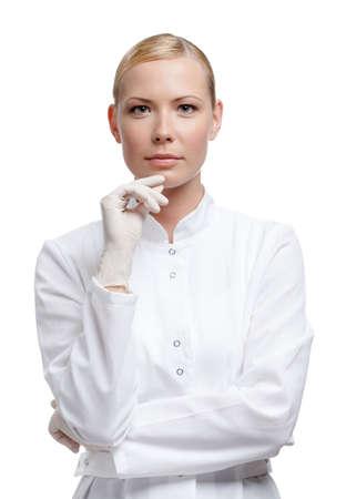 investigador cientifico: Doctor de la se�ora en guantes m�dicos, aislado en blanco Foto de archivo