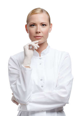 scientists: Lady doctor in medical gloves, isolated on white