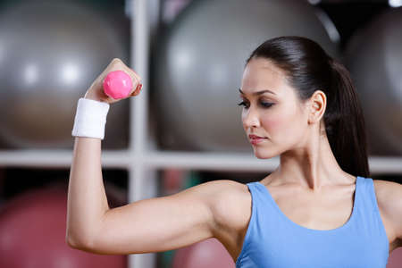 Young woman works out with dumbbells in gym to develop muscles. Strength activity Stock Photo - 16240934