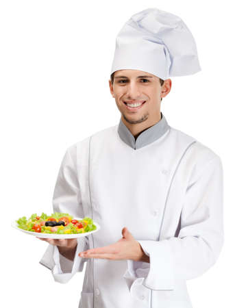 Portrait of chef cook showing salad dish, isolated on white Stock Photo - 16440748
