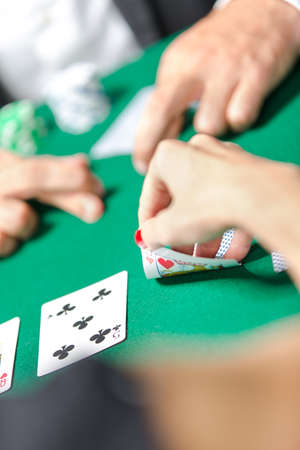 Competition between poker players. Risky entertainment of gambling photo