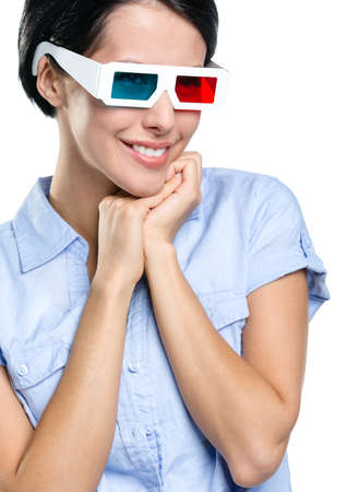 Viewer in 3D glasses, isolated on white. The concept of cinema entertainment photo