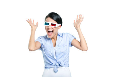 Excited girl with hands up in 3D glasses, isolated on white photo