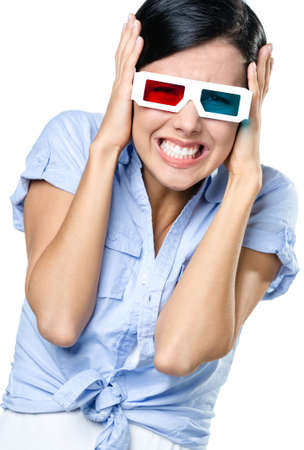 Putting hands on the head girl watching 3D cinema, isolated on white Stock Photo - 17480331