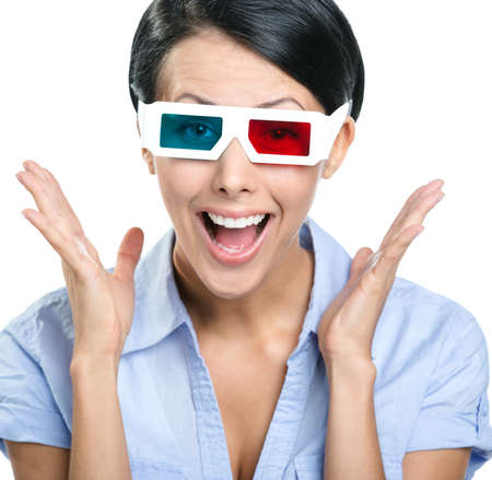 Close-up of excited girl in 3D glasses, isolated on white photo
