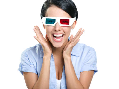 Close-up of happy girl in 3D glasses, isolated on white photo