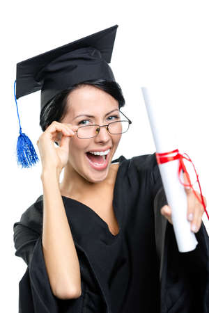 Graduating student in glasses with the diploma adjusts the glasses, isolated on white photo