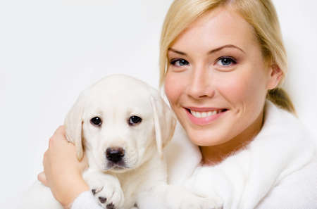 closeup puppy: Labrador puppy sitting on the hands of woman