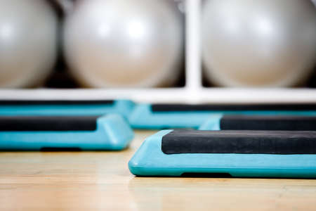 keep fit: Step boards and gymnastic balls in sports class
