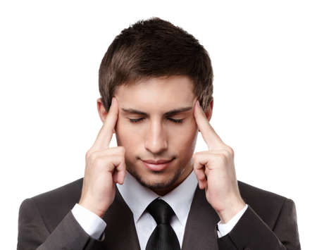 Putting hands on head business man has some problems, isolated on white Stock Photo - 17824309