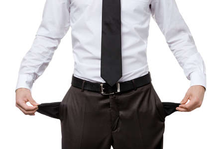 empty pockets: Broke business man with empty pockets, isolated on white. Financial crisis Stock Photo
