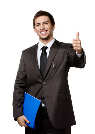 Businessman with folder full of documents thumbs up, isolated on white photo