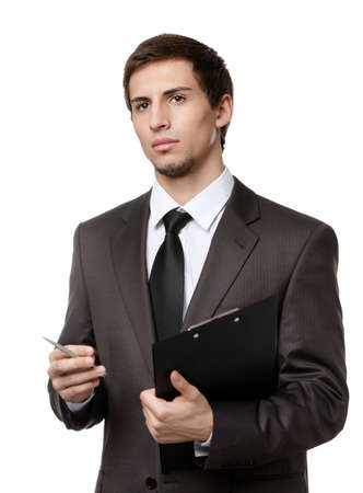 Pensive man holds black paper folder and pen, isolated on white Stock Photo - 17824556