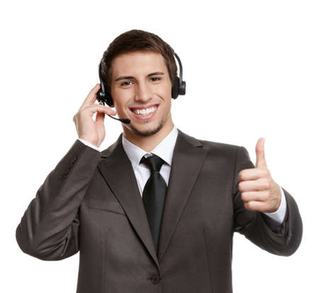 intercourse: Thumbing up operator puts earphones with microphone, isolated on white