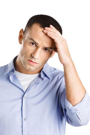 hair problem: Man having headache touch his head, isolated
