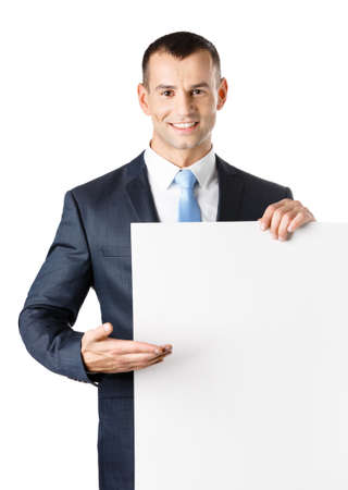 Office worker points with hand at paper copy space, isolated on white photo
