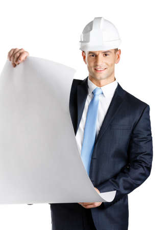 architecting: Engineer in hard hat hands blueprint, isolated on white. Concept of successful construction