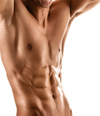 male chest: Sexy muscular body of athletic man, isolated on white