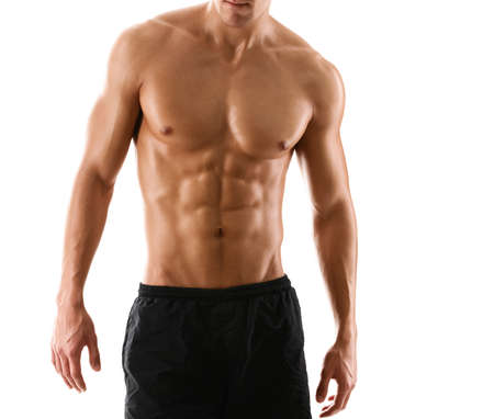 hombre desnudo: Medio cuerpo desnudo sexy del hombre atlético muscular, aislado en blanco Foto de archivo