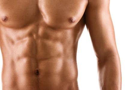 abdominal fitness: Sexy cuerpo de hombre musculoso desnudo, aislado en blanco Foto de archivo