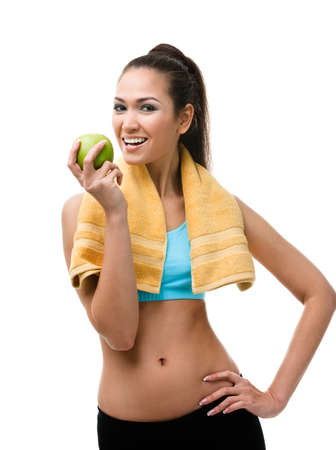 athletic wear: Woman hands ripe green apple, isolated on white Stock Photo