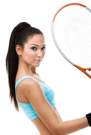 Portrait of female tennis player with racquet, isolated on white Stock Photo - 17824260