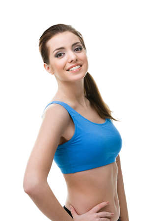 keep fit: Portrait of a sportive woman, isolated on white