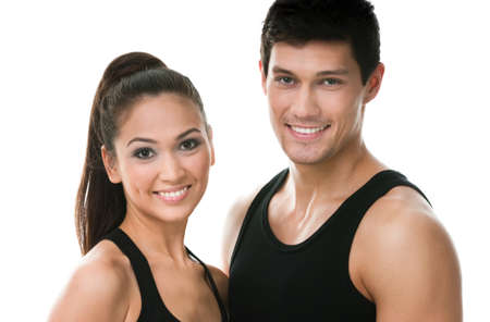 Portrait of two sportive people in black sportswear, isolated on white Stock Photo - 17824357