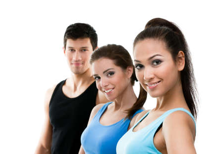 athletic wear: Portrait of sporty people in sportswear in perspective, isolated on white