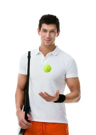 Exercising tennis player with tennis ball and black case for racket, isolated on white Stock Photo - 17824251